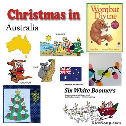 """Christmas in Australia crafts and activities. Christmas """"Downunder"""" is never white. That's because Christmas in Australia comes in the middle of summer when it is hot."""
