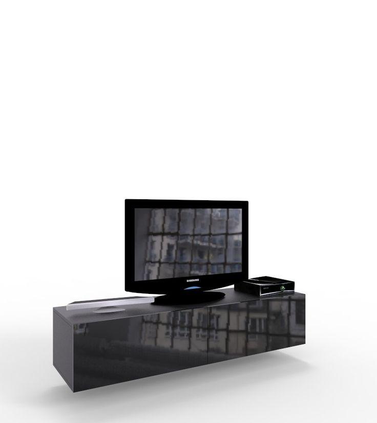 czarna szafka VIGO pod telewizor 140 cm