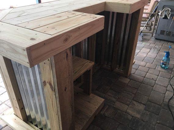 6' rústico Metal corrugado y U de madera tratada en por BuyfooBARS                                                                                                                                                                                 Más
