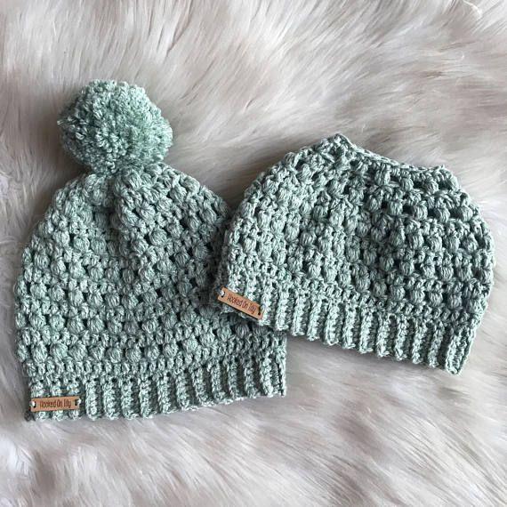 MESSY BUN HAT pattern Slouchy Beanie Crochet Pattern
