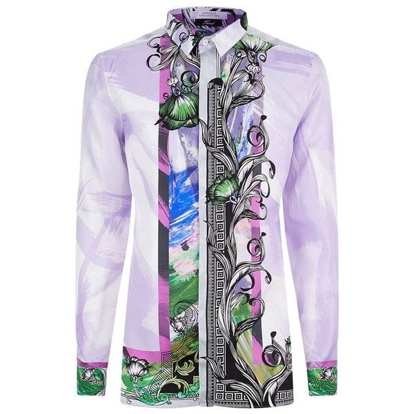 Versace Collection Silk Lilly Baroque Shirt (675 AUD) ❤ liked on Polyvore featuring men's fashion, men's clothing, men's shirts, men's casual shirts, men's flower print shirt, mens silk button down shirt, mens casual button down shirts, mens baroque shirt and mens silk shirts