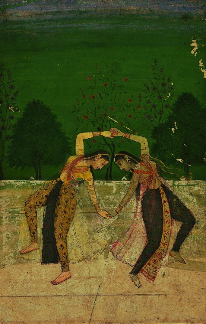 Painting which represents a mixture of Mughal and Rajput styles, depicts two Indian girls dancing.