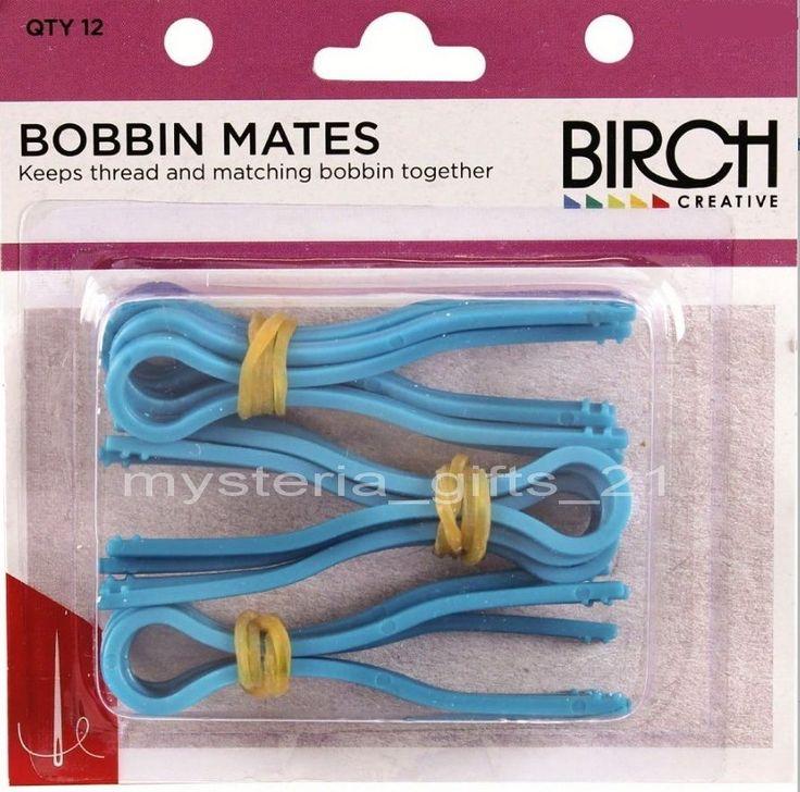 BOBBIN MATES PLASTIC PACK OF 12 HOLDS THREAD AND BOBBINS #BIRCH