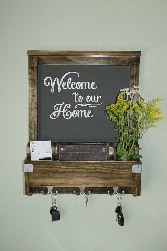 Entry Wall Organizer With Chalkboard Wood Walnut Stain Mail Phone Key Hooks Chic Modern Chalk Board Decor In 2018 For The Home Organization