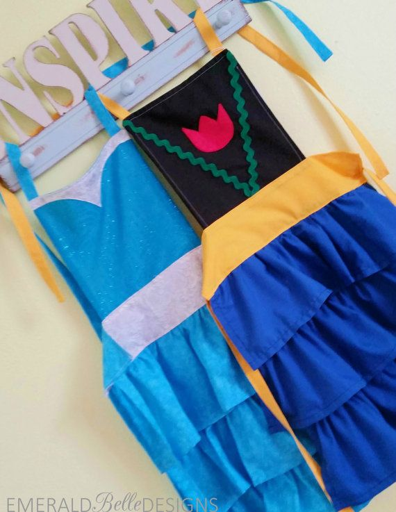 Frozen Elsa Apron or Anna Apron Disney by EmeraldBelleDesigns, $25.50