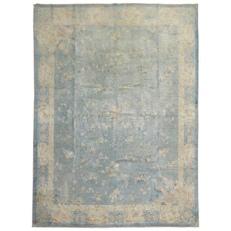 Watery Blue Antique Chinese Rug | From a unique collection of antique and modern chinese and east asian rugs at https://www.1stdibs.com/furniture/rugs-carpets/chinese-rugs/