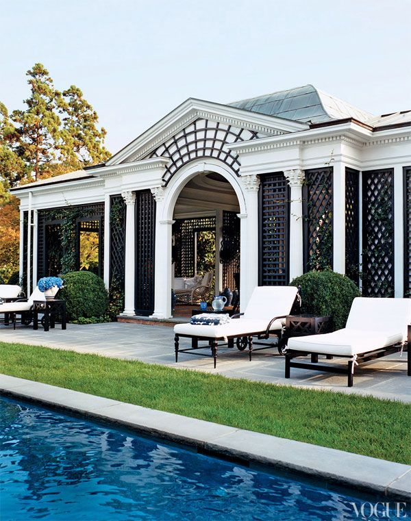 BLACK LATICE TO SEPARATE AREAS Love the covered back patio and pool