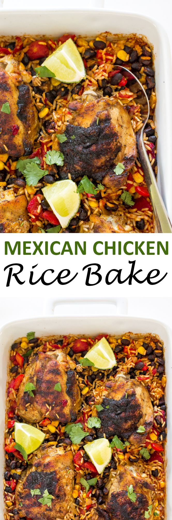 Mexican Chicken Rice Bake. Blackened chicken thighs served on a bed of Mexican rice, black beans and corn. A super easy dinner! | chefsavvy.com #recipe #Mexican #chicken #rice #bake #dinner