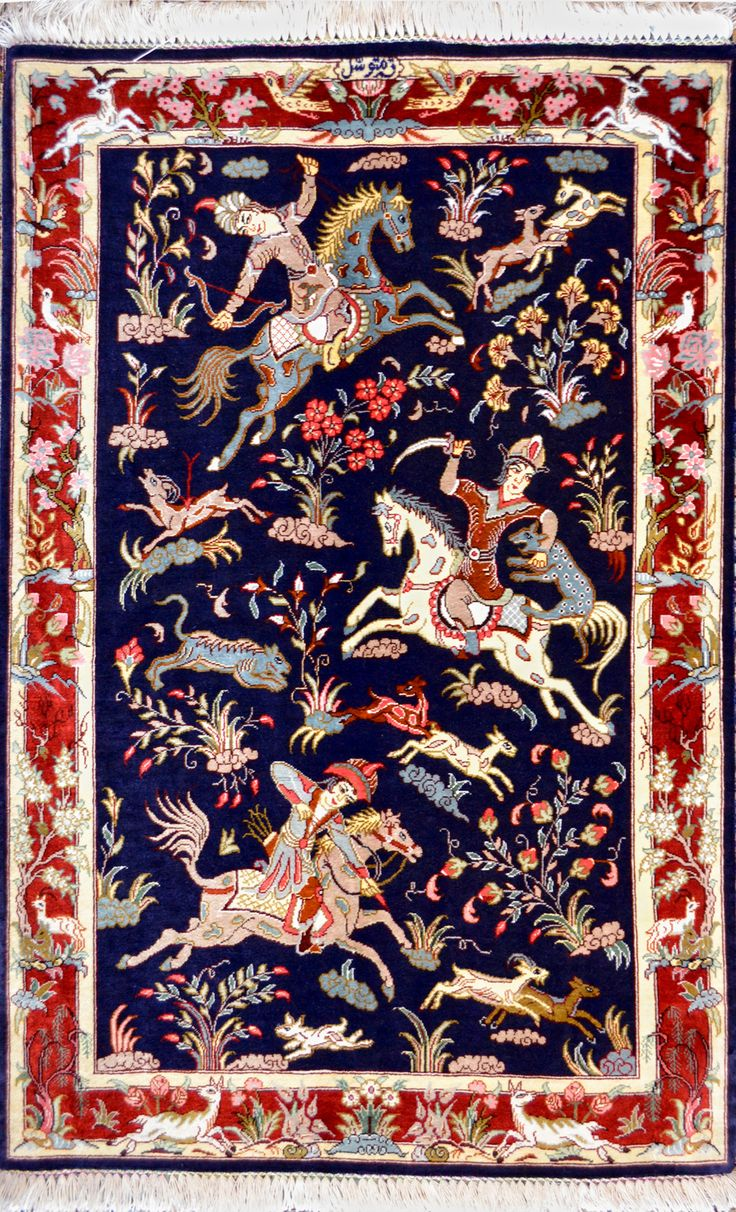 Hunting Scene Silk Persian Rug | Exclusive collection of rugs and tableau rugs - Treasure Gallery