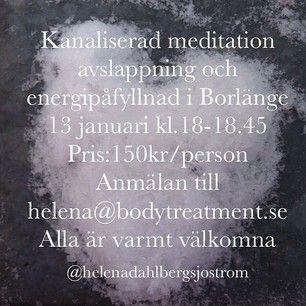Kanaliserad meditation 13 januari i Borlänge kl. 18-18.45