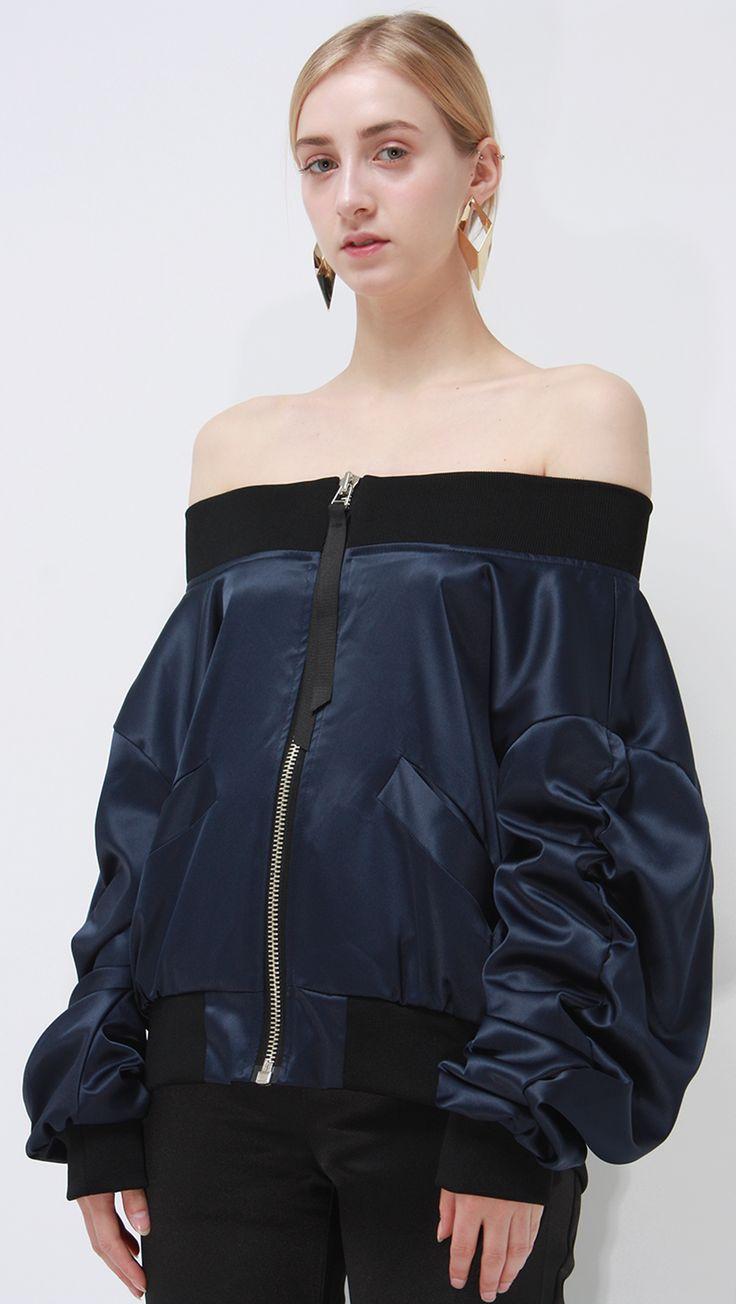 Make evening wear. farrow off shoulder bomber jacket – LOÉIL #acetinados #jaqueta #bomber…