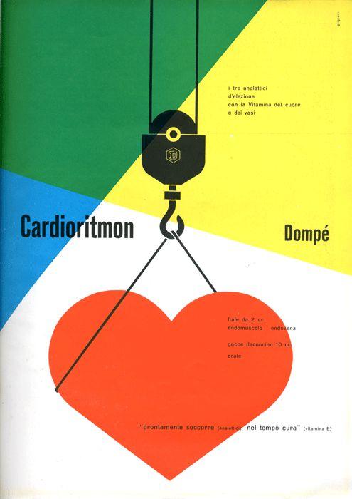 Franco Grignani Pagina pubblicitaria - Cardioritmon  Annuncio presente nella rivista Bellezza d'Italia,  rassegna d'arte e di vita moderna, Natale 1952.