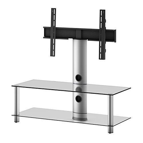 VCM Standol - Soporte vertical de TV, color plata, cristal de color negro