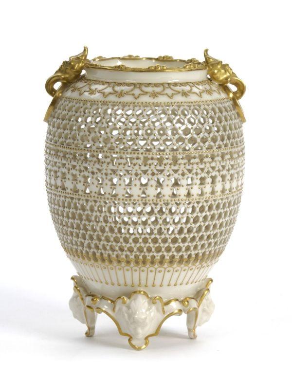 George Owen A Royal Worcester Porcelain Reticulated Vase