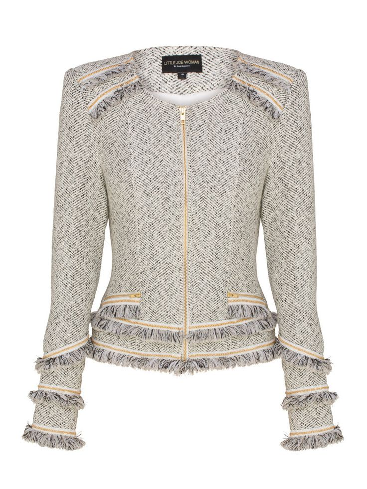 The Step Into A River Jacket comes in a soft textured suiting. The jacket features lots of detailing with exposed metal zips, white lace trims, fringe trim and grosgrain chain trim. The feminine wardrobe stand-out can be worn over a dress by evening, or paired with boyfriend jeans and heels by day. Fully lined.      Features:  Made from textured wool suiting Fine lace detailing Exposed front zipper