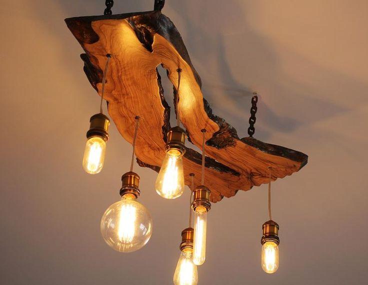 Olive wood chandelier edison light bulbs modern Artist lamp rustic raw wood lamp olive lamp