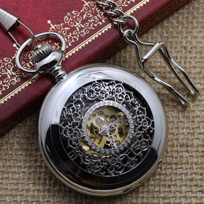 Античная Hollow Серебряный Тон Механические Карманные Часы Ожерелье Женщины Мужчины Подарков P802C