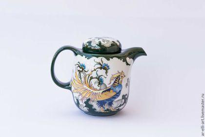 """Чайники, кофейники ручной работы. Ярмарка Мастеров - ручная работа. Купить Фарфоровый чайник """"Фазан и ирисы"""". Handmade. Тёмно-зелёный"""