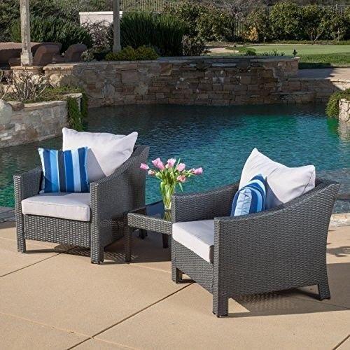 Patio Garden Caspian 3 Piece Grey Outdoor Wicker Furniture Chat Set Home **NEW** #PatioGardenFurniture