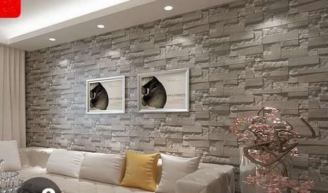 Feature 3d Fake Wall Stone Effect Wallpaper Decorating Ideas En 2020 Paredes Interiores De Piedra Decoracion De Pared De Tv Decoraciones Del Hogar