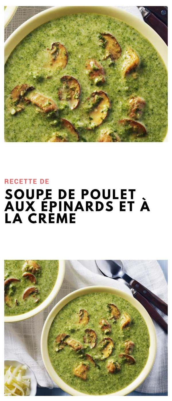 #soupe #poulet #épinard #champignons