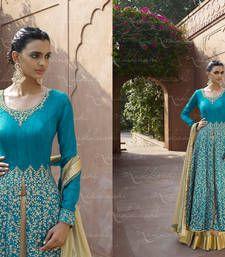 Buy Blue cotton silk embroidered semi stitched salwar with dupatta party-wear-salwar-kameez online