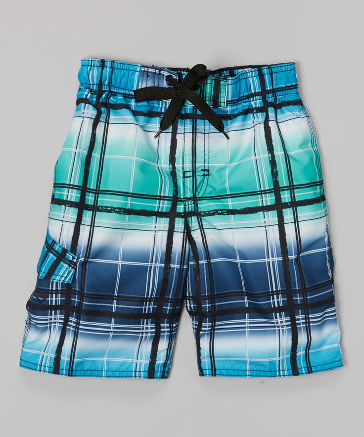 Look at this Navy & Ice Green Mercury Swim Trunks - Infant & Toddler on #zulily today!