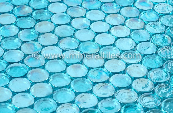 Mineral Tiles - Iridescent Pool Glass Tile Pale Blue Penny Round, $13.95 (http://www.mineraltiles.com/iridescent-pool-glass-tile-pale-blue-penny-round/)