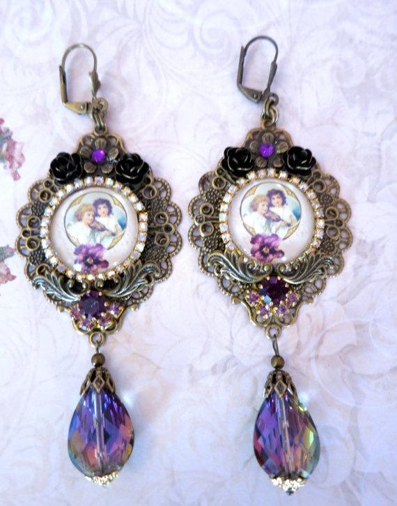 Boucles style victorien violet vitrail par lorenza33 sur Etsy, $47.00