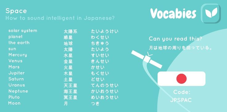 'How to sound intelligent in Japanese' by Vocabies app  Space  Use the code to download the words in Vocabies app and learn them there!