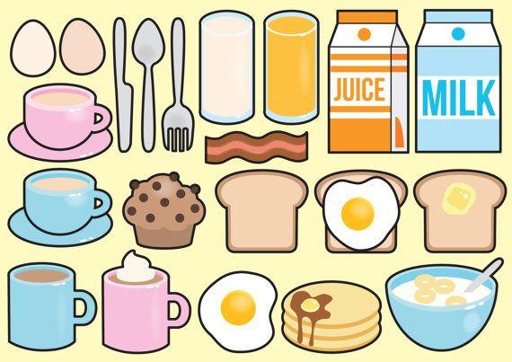 Premie Vector Clipart - Kawaii ontbijt Clipart - Kawaii voedsel illustraties Set - hoge kwaliteit vectoren - No gezichten - Kawaii Clipart