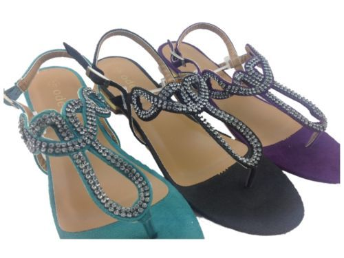 Purple, Green Or Black Diamanté Flip Flop- £14.99