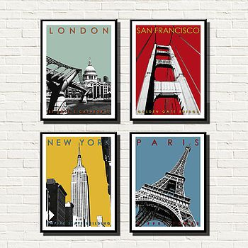 world travel prints set of four by bronagh kennedy - limited edition prints   notonthehighstreet.com