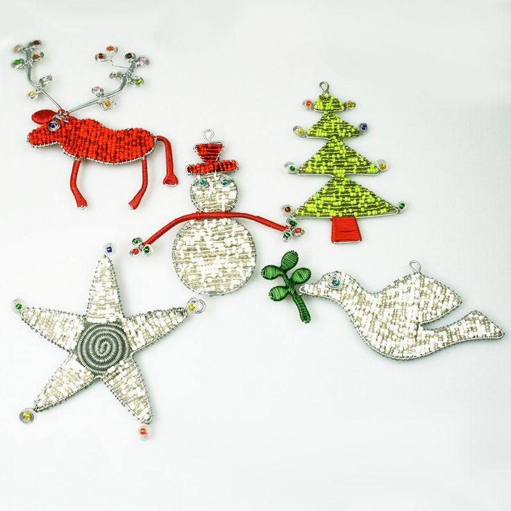 Hand-beaded Christmas Ornaments from South Africa, set of 5 pieces