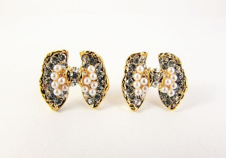 Gold Plated 18K GP Crystal Bow Stud Earrings Women Jewellery