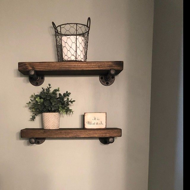 One Shelf Without Brackets Farmhouse Rustic Industrial Or