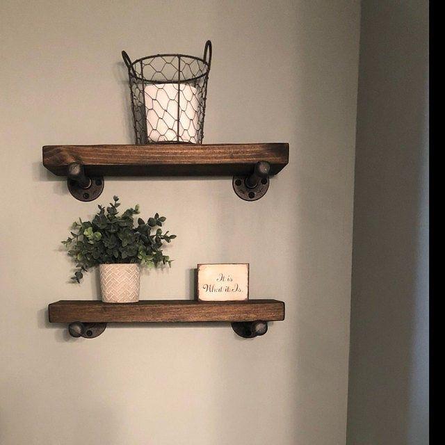Wood Floating Shelf With Brackets Rustic Modern Farmhouse Shelves