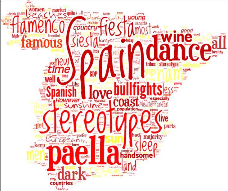 Crea un mapa de Espana que incluya las palabras que te sugiere en espanol :)