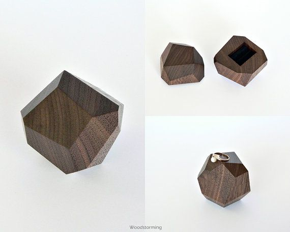 Faceted wood ring box engagement ring box by Woodstorming