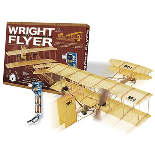 Giant Wright Flyer and thousands more of the very best toys at Fat Brain Toys. This replica of the Wright Flyer's twin propeller plane can actually fly, and you get to build it! Learn the principles and history of flight using this model airplane. This model can fly nearly as far as Orville Wright's first flight of 120 feet back on December 17, 1903; this model can fly approximately that far when the conditions are right! Wingspan: 19 inches.