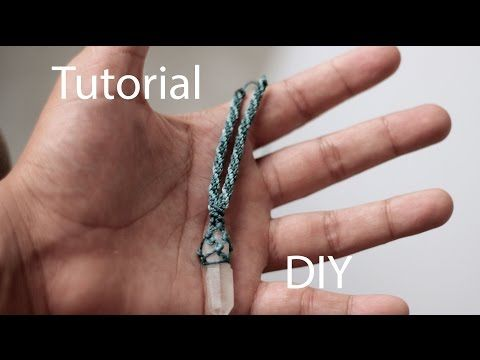 How to Tutorial macrame wrapped crystal point stone with waxed cord - YouTube