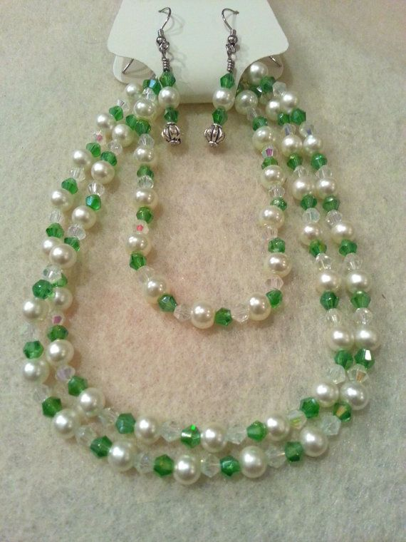 Elegant Set  Green Swarovski Crystal and by FrantasticCreationz, $20.00