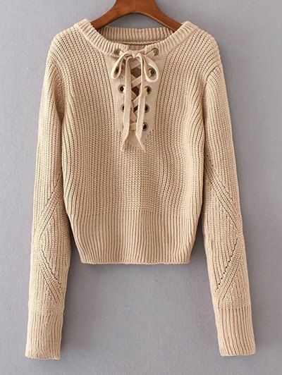 Round Neck Lace Up Jumper - APRICOT ONE SIZE Mobile