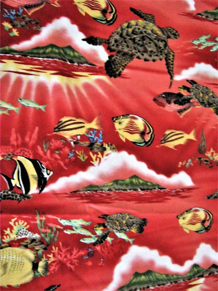 Red Tropical Ocean Fabric*Sea Turtles*Tropical Fish*Distant Island*100% Cotton*Trendtex Fabric*2000*Red Ocean Fabric*Sunset Fabric*Quilting by CedarCoveRetro on Etsy