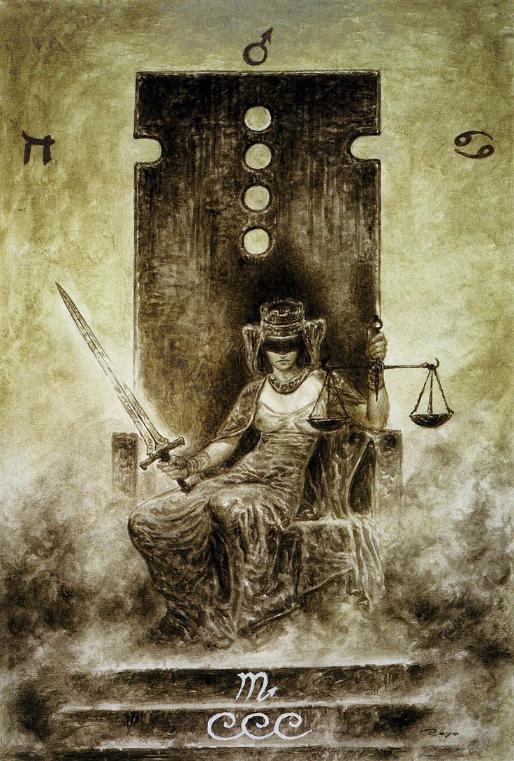 VIII. Justice - The Labyrinth Tarot by Luis Royo