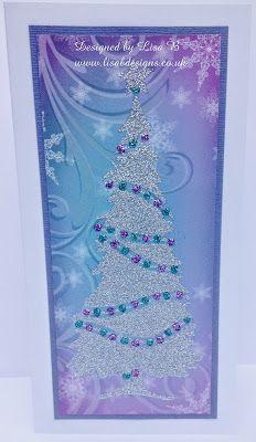 Handmade Christmas card. Imagination Crafts stencil, background paper & Sparkle Medium. http://lisabdesignsinspiration.blogspot.co.uk/2014/12/tree-of-lights.html