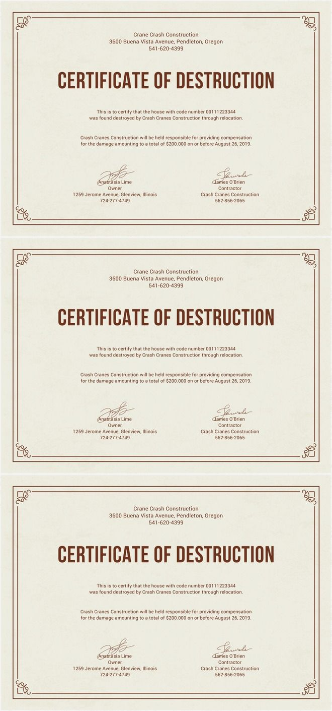 The 25 best certificate templates for word ideas on pinterest free certificate of destruction template destruction certificate design for consrtuction field fully editable and 1betcityfo Images