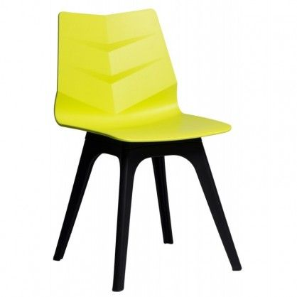 Krzesło Leaf limonkowe, podst. czarna