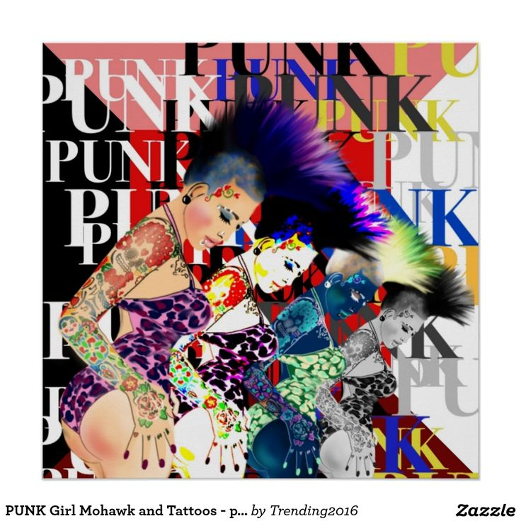 Girly punk poster features a punk girl with tattoos wearing a bathing suit with an awesome Mohican Mohawk. The image of the punk girl has been repeated each time with different colors creating an awesome psychedelic punk effect.