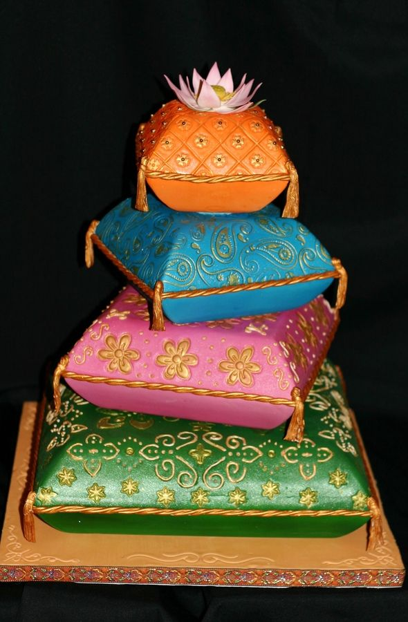 pillow cakes for indian wedding | pillow wedding cake sari inspired wedding cake the topper is a ...